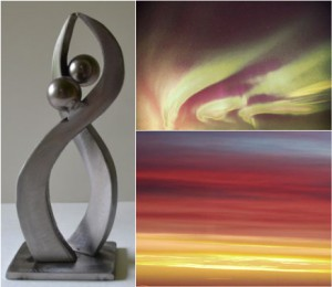 Artists Inspiration in DoubleTree by Hilton™ West Edmonton: Edmonton is a northern city. The winter solstice arrives with the promise of longer days. On the summer solstice we celebrate the longest day ‐ 16 hours of daylight. This sculpture represents two stylized figures engaged in a dance. They are about to twirl as they celebrate the glorious, long summer days ahead in Edmonton. When viewed at a certain angle the bodies of the two figures align to form the eternity symbol. I think this sculpture captures dynamic movement and the spirit of celebration.